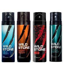 Wild Stone Combo of Aqua Fresh, Night Rider, Red and Hydra Energy Deodorants - 150 ml Each
