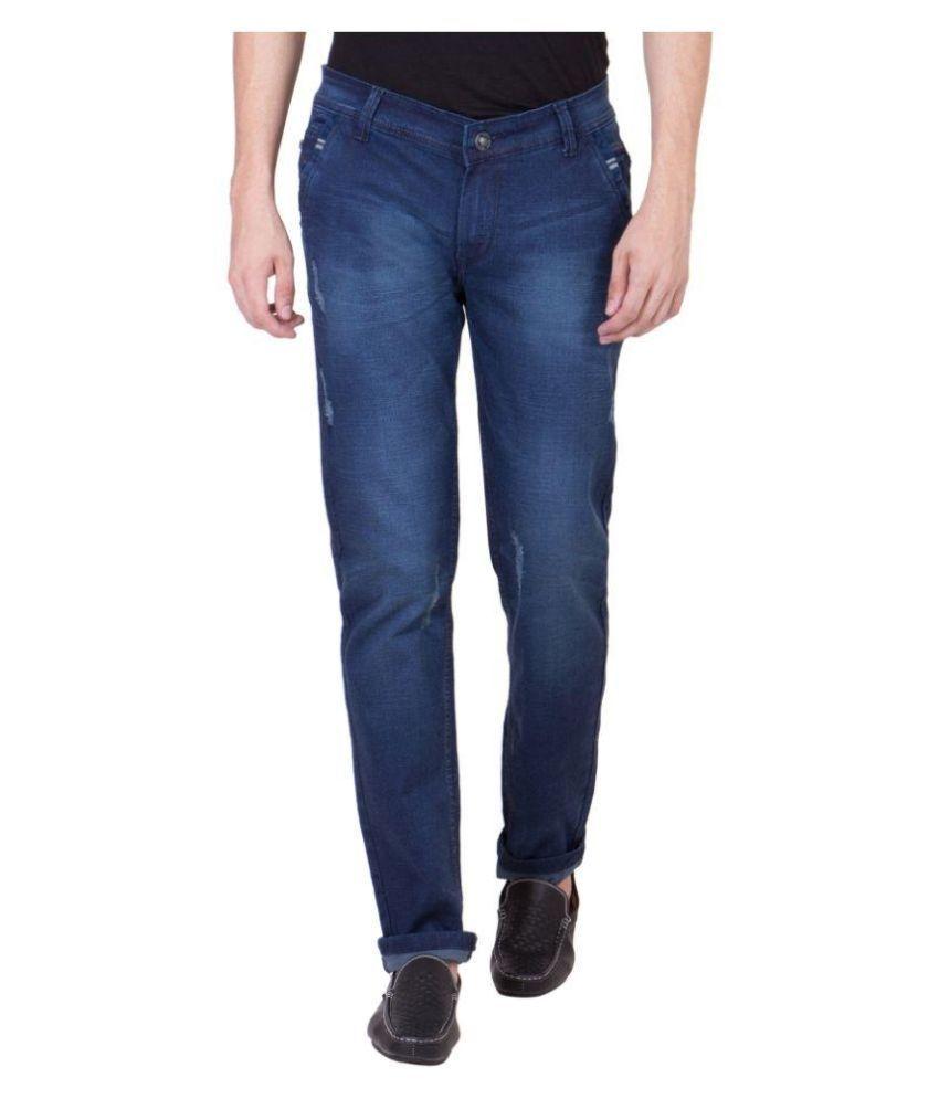 Blackcatz Blue Slim Fit Faded Jeans