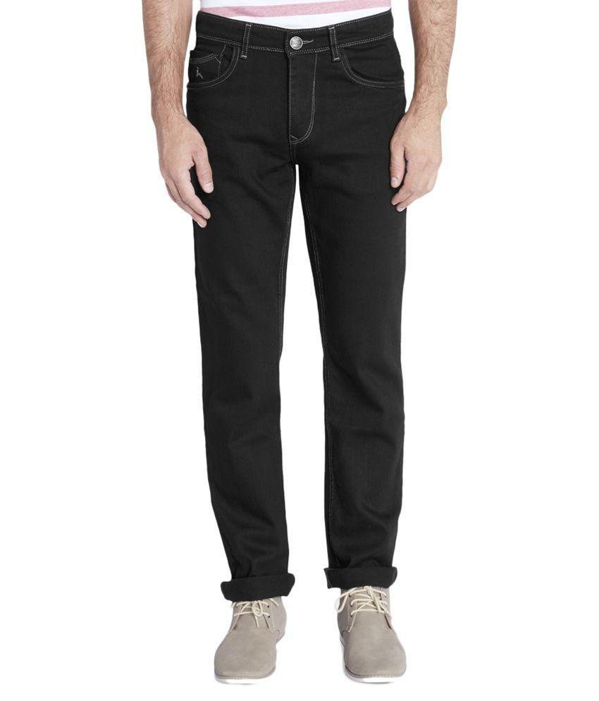 Parx Black Regular Fit Solid Jeans