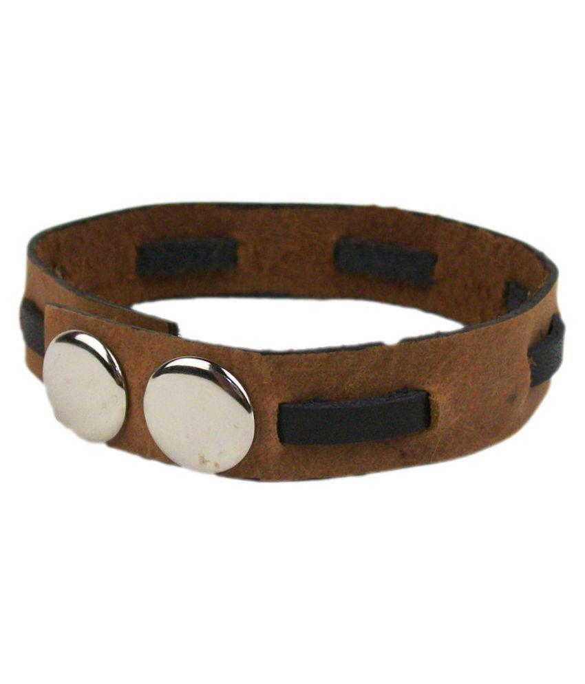 Sakhi Styles Leather Studded Tan Coloured Bracelet