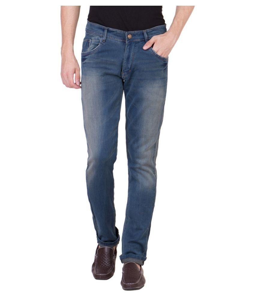 Flying Port Blue Slim Fit Faded Jeans