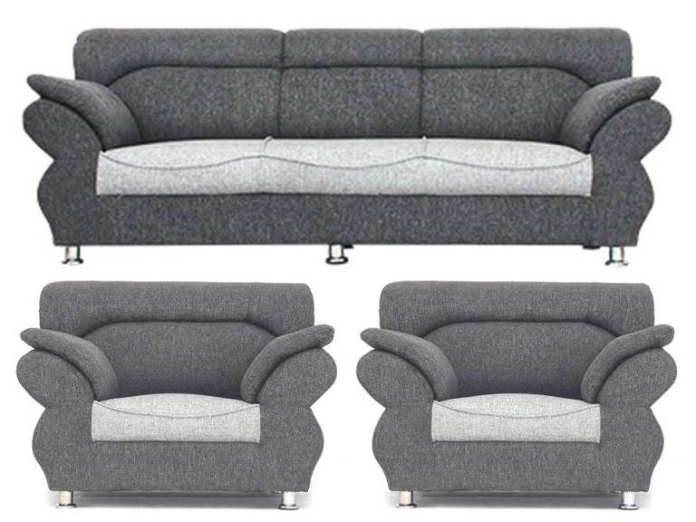 Bharat Life Style Neo Light Grey Jute 3 1 Seater Sofa Set