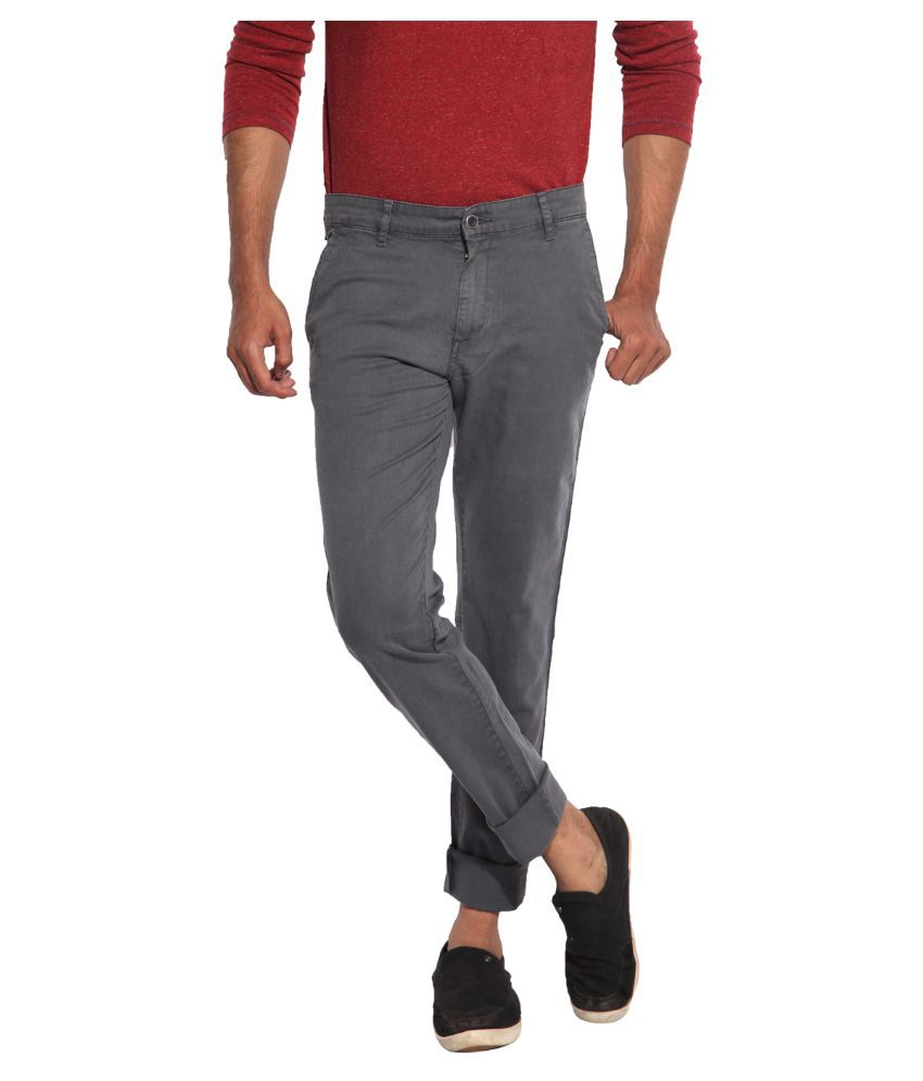 Inego Grey Slim Fit Chinos