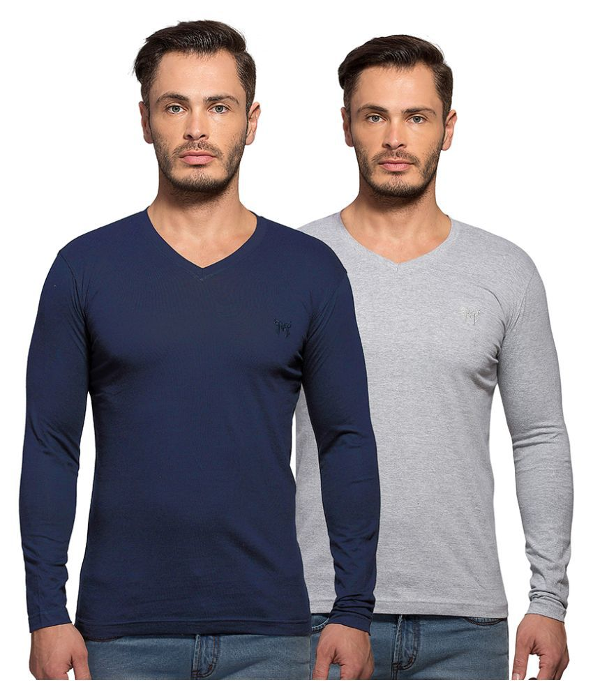 Maniac Multi V-Neck T Shirt Pack of 2