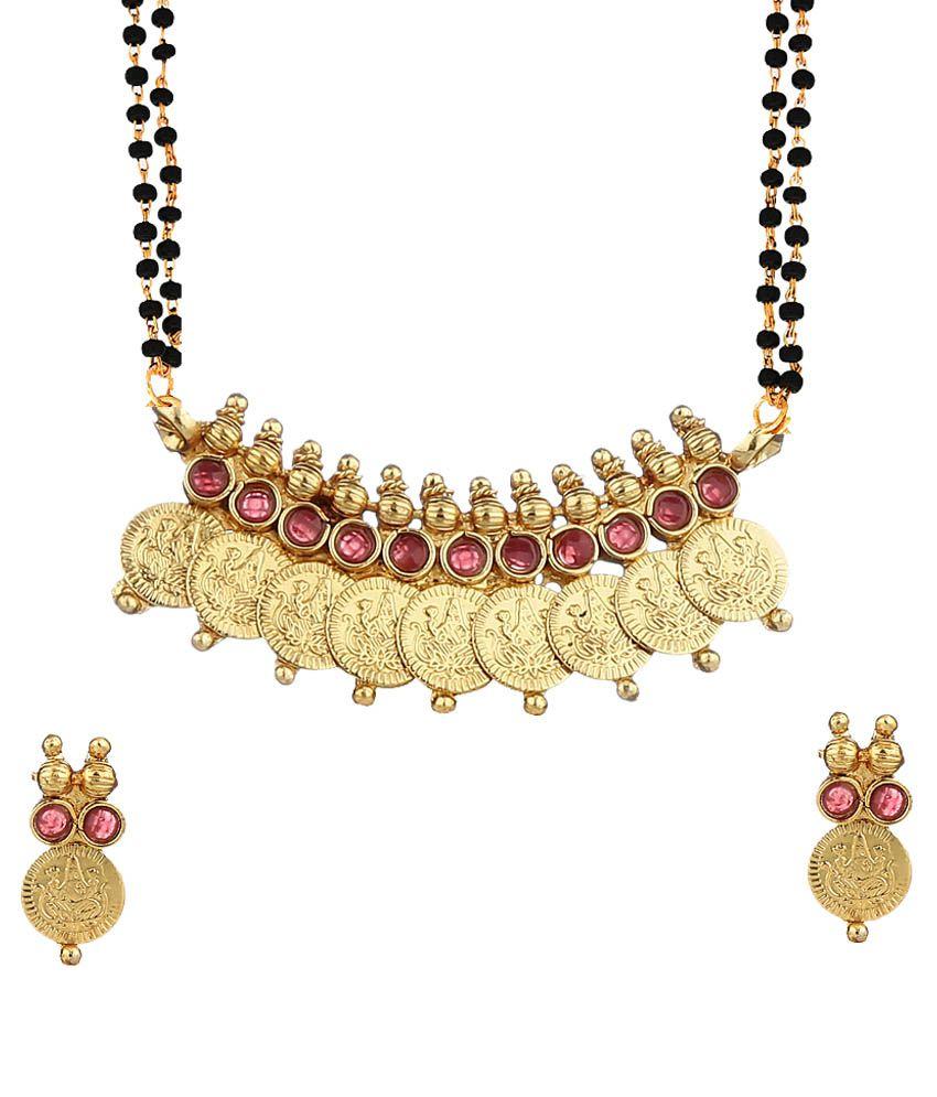 Zeneme Alloy Gold Plating American diamonds Studded Multi Coloured Mangalsutra Set