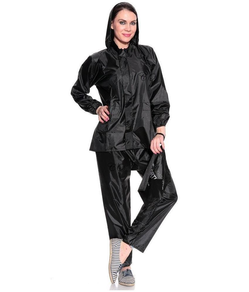 Civil Outfitters Black Nylon Raincoat Sets with Hood.