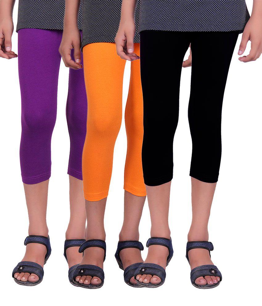 Alisha Multicolour Cotton Lycra Capri For Kids - Pack of 3