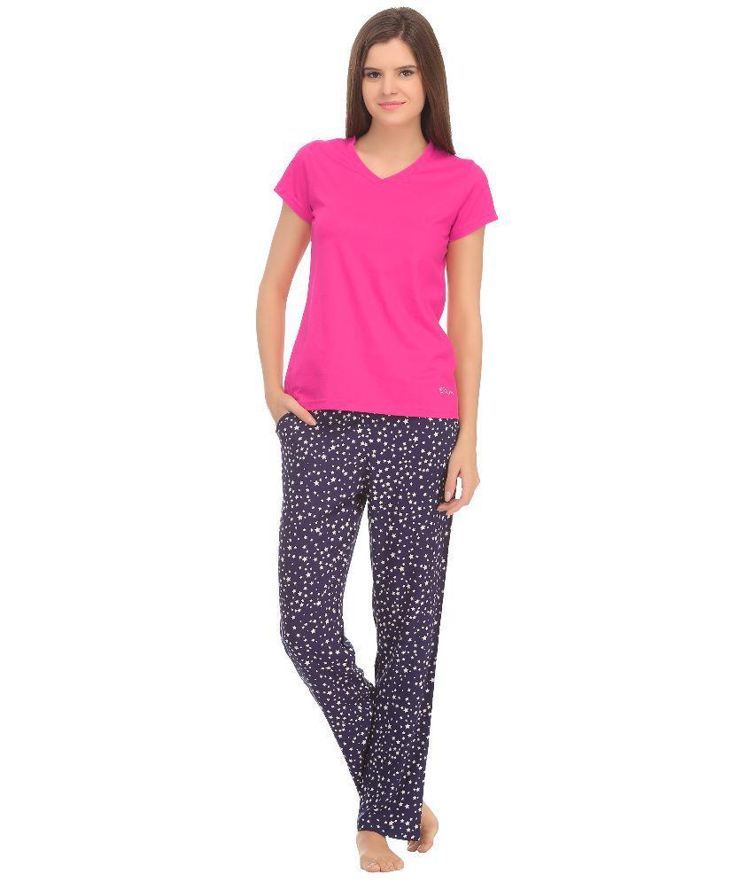 Kanvin Pink Cotton Nightsuit Sets