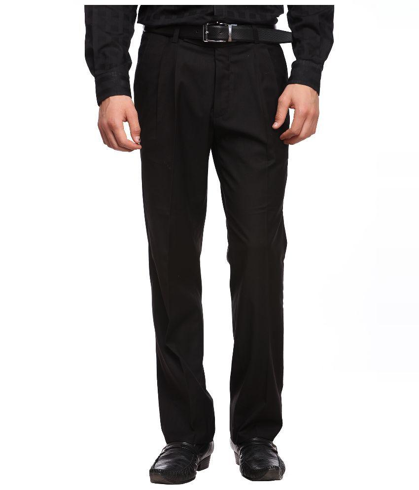 Luxurazi Black Slim Fit Pleated Trousers