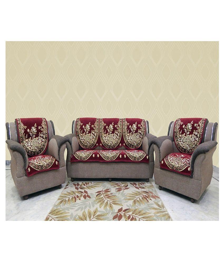Cool Mhf Red Velvet Sofa Cover Set Buy Mhf Red Velvet Sofa Pabps2019 Chair Design Images Pabps2019Com