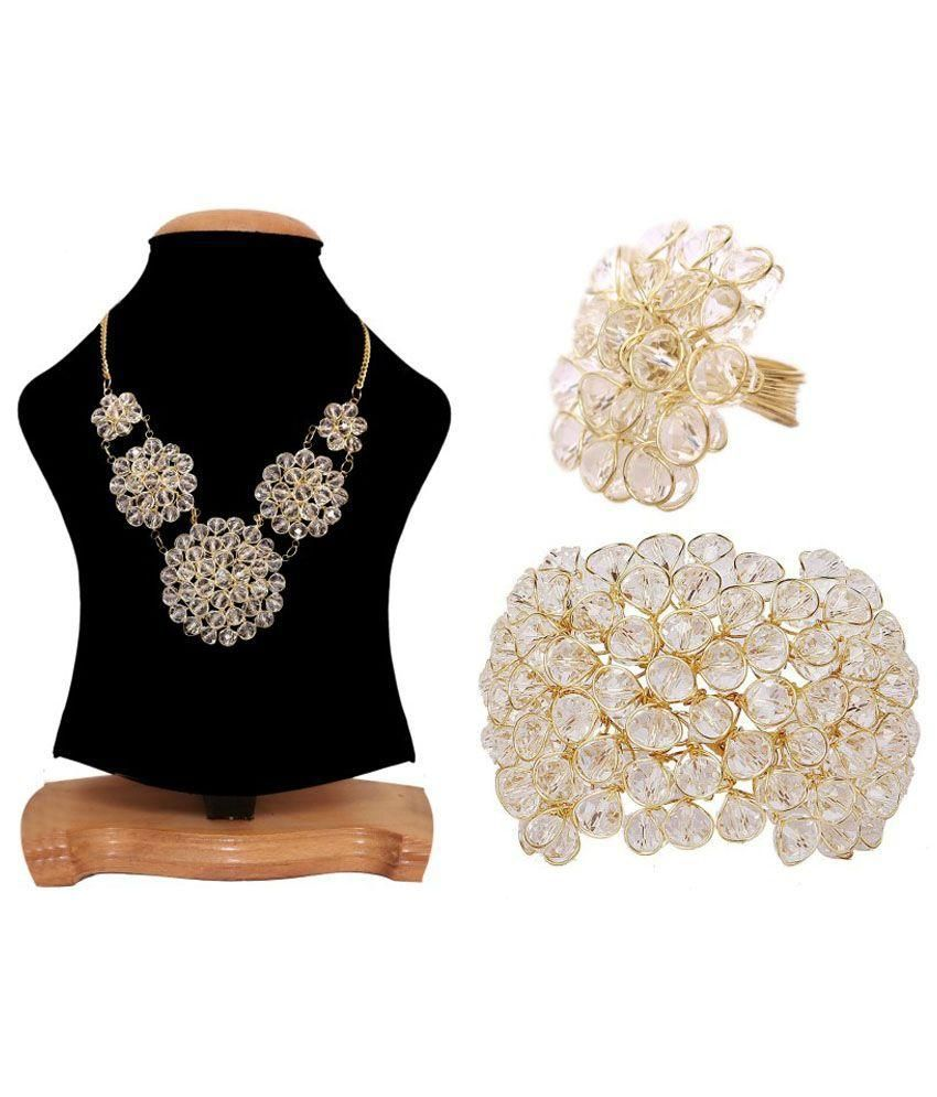 Renaissance Traders Crystal Gold Plating Crystal Studded White Coloured Necklace set Combo
