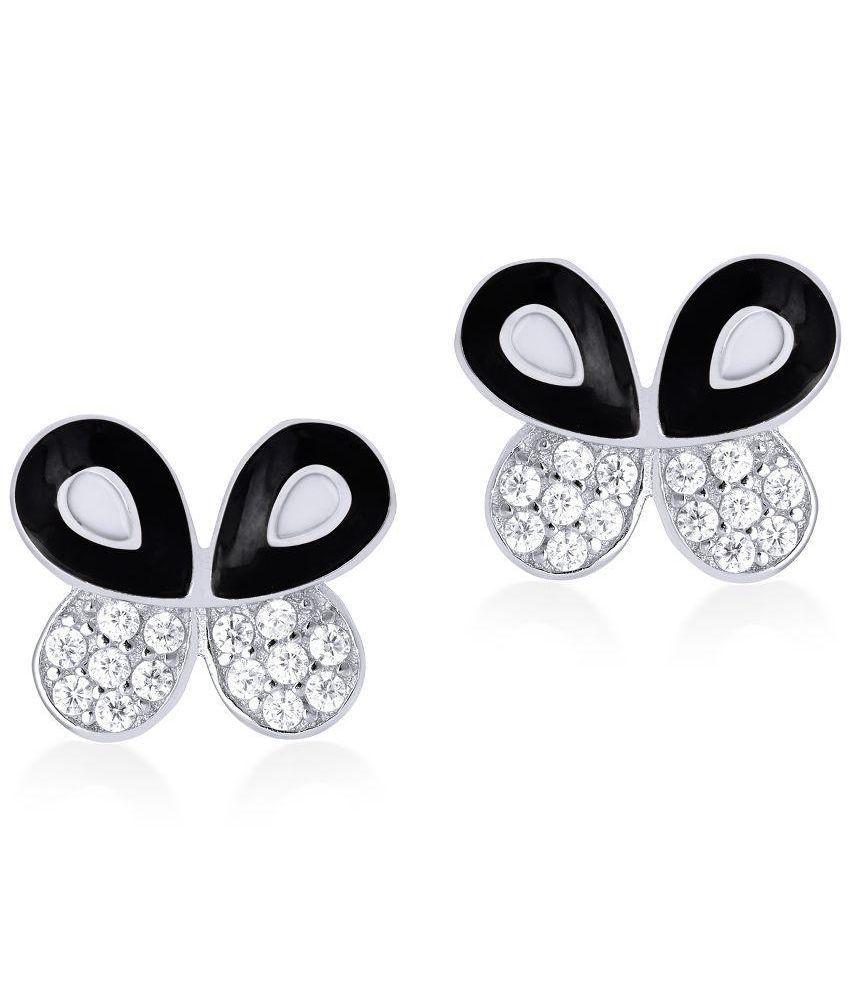 Shiyara Jewells Black Silver Stud Earrings