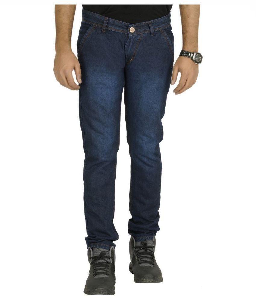 Urbano Fashion Navy Slim Fit Faded Jeans
