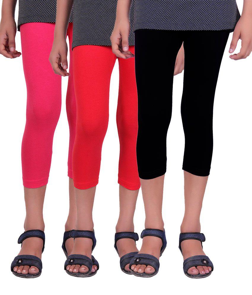 Alisha Multicolour Cotton Capri for Girls - Pack of 3