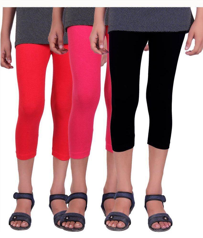Alisha Multicolour Cotton Lycra Capri for Girls - Pack of 3