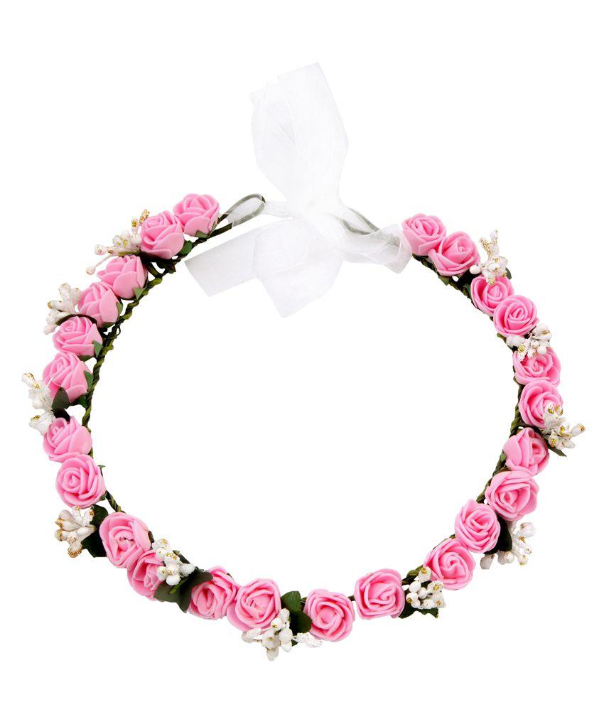 Sanjog pink rose flower crown and hand tiarapuff wrap buy online sanjog pink rose flower crown and hand tiarapuff wrap izmirmasajfo