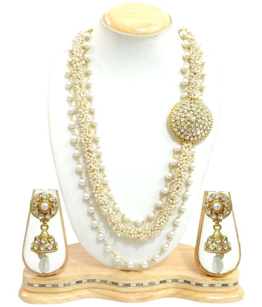 Arts Chetan Zinc Gold Plating Beads Studded Gold Coloured Necklaces Set