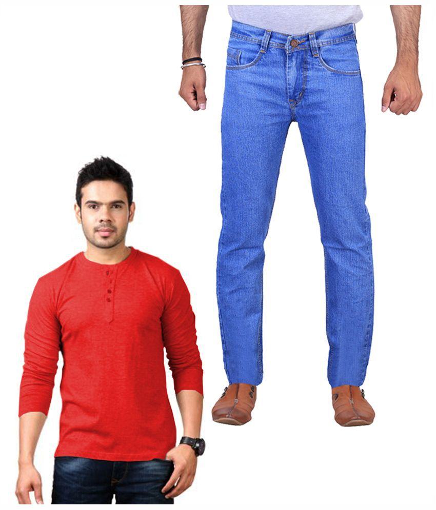 ILBIES Blue Slim Fit Solid Jeans with Henley T-Shirt