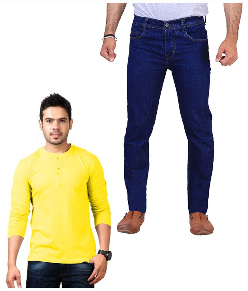 Ilbies Blue Regular Fit Solid Jeans with T-Shirt