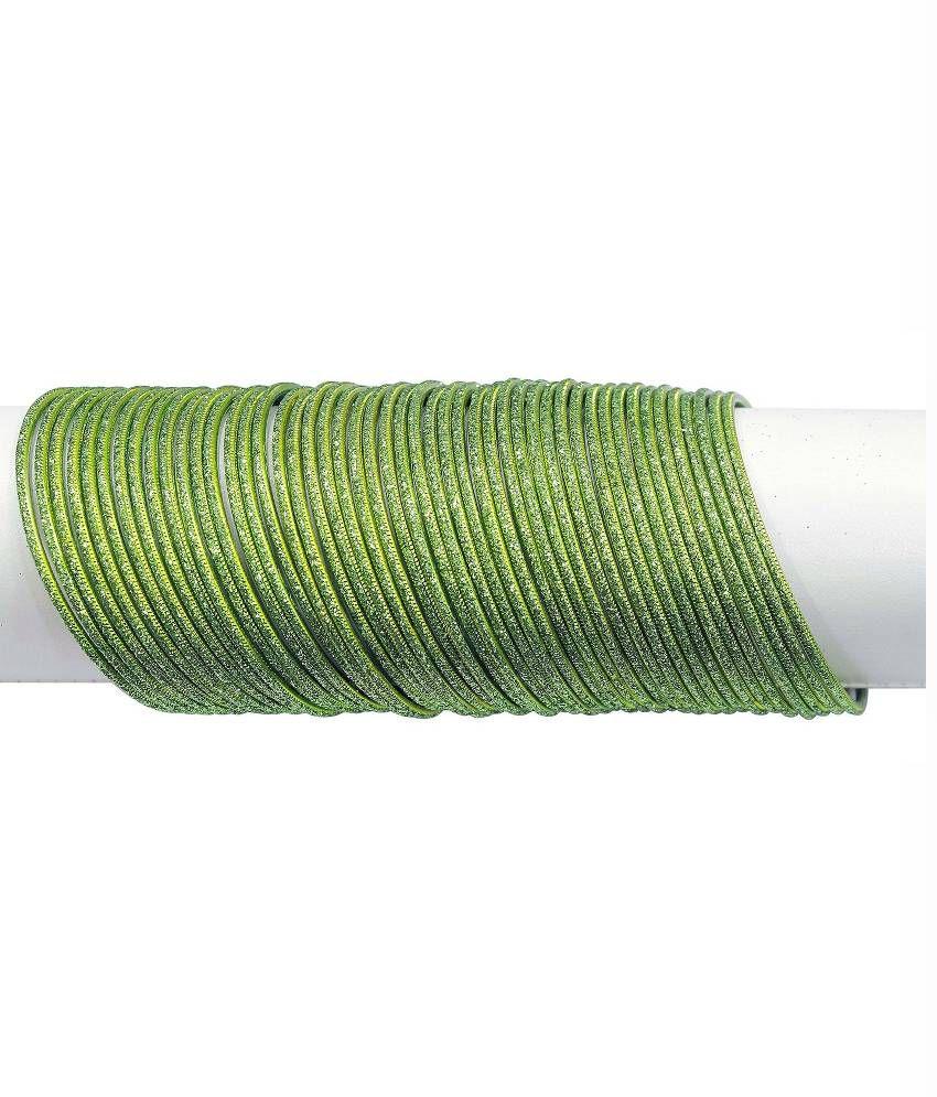 Multiline Company Alloy Oxidised Studded Green Coloured Bangle Set