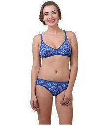 New Pearl Blue Poly Cotton Bra & Panty Sets