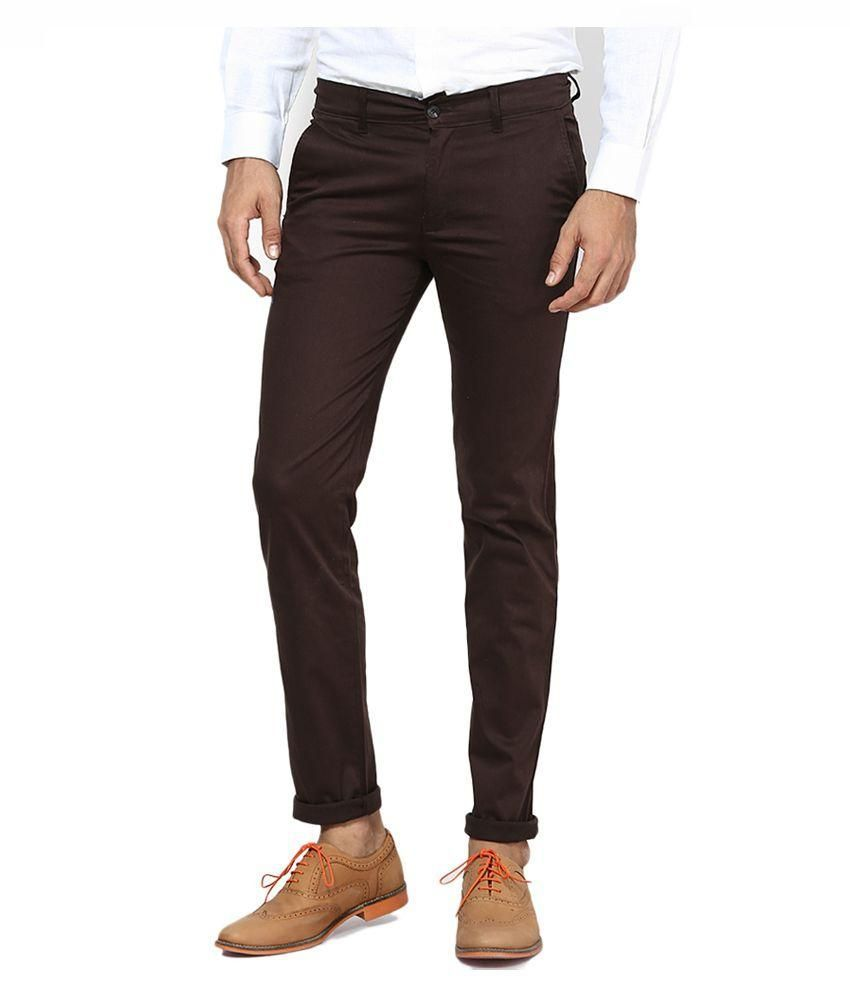 K K Enterprises Brown Slim Fit Chinos