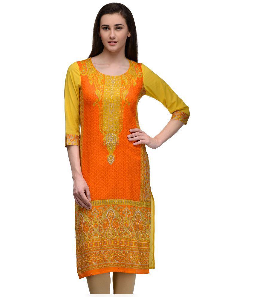 Natty India Multicoloured Cotton A-line Kurti