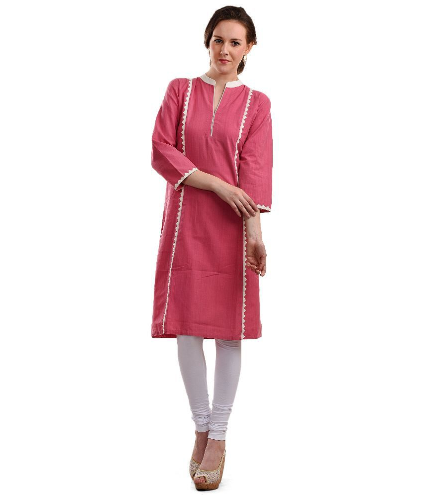 Crafts N Styles Pink Cotton Straight Kurti