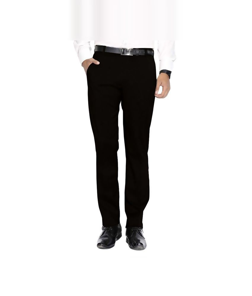 FranklinePlus Black Regular Fit Flat Trousers