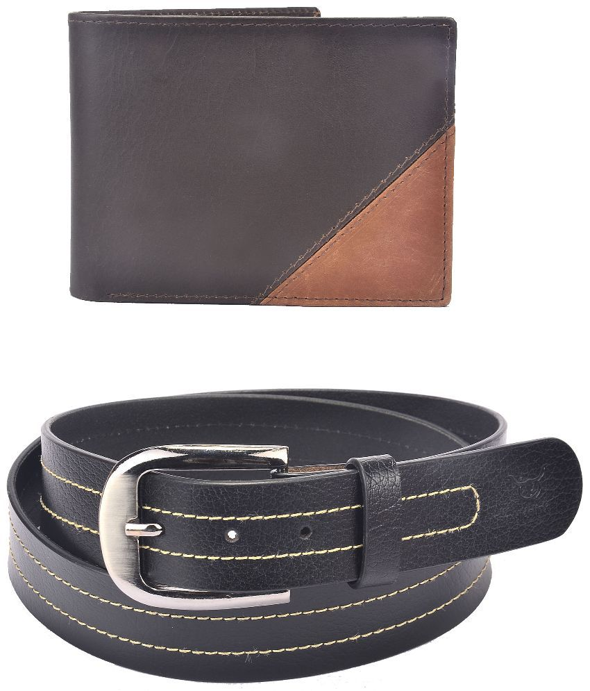 Hidelink Black Leather Belt with Wallet for Men