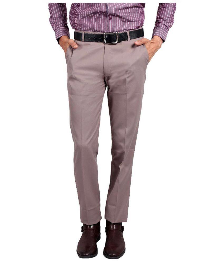 Solemio Grey Slim Fit Flat Trousers