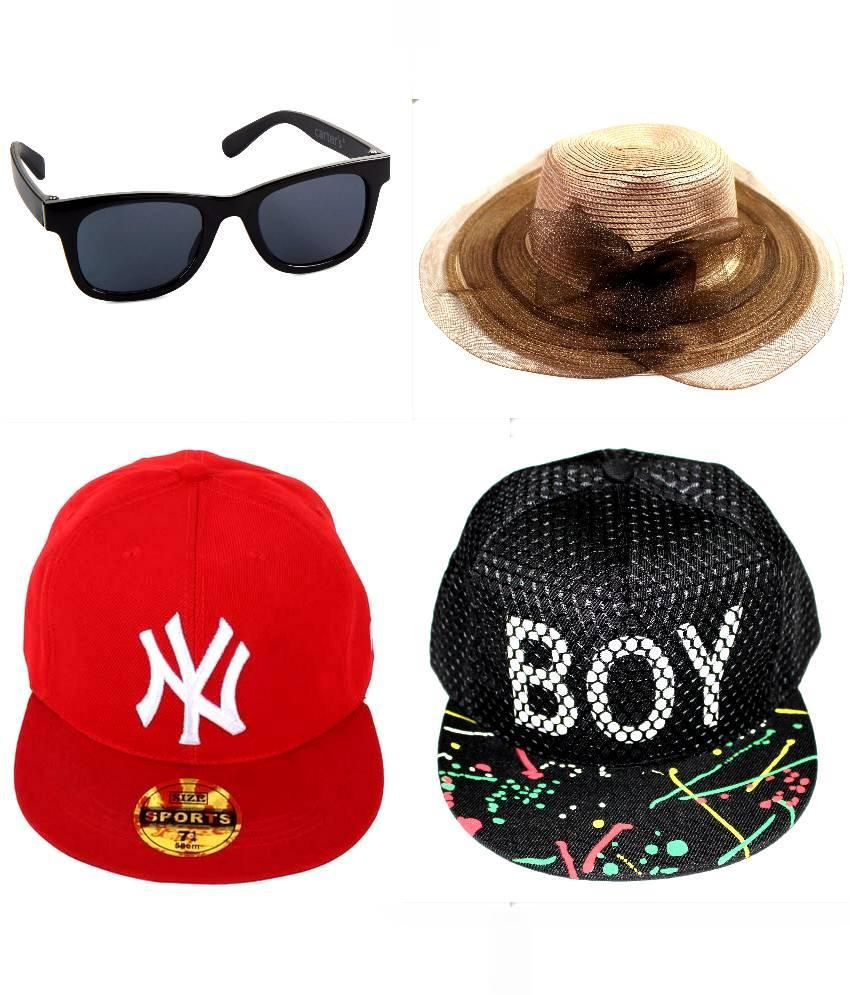 e6cf09cc 99DailyDeals Polyester Red Cap,Boy Black Cap,Women Hat Full And Black  Wayfarer Sunglasses - Buy Online @ Rs. | Snapdeal