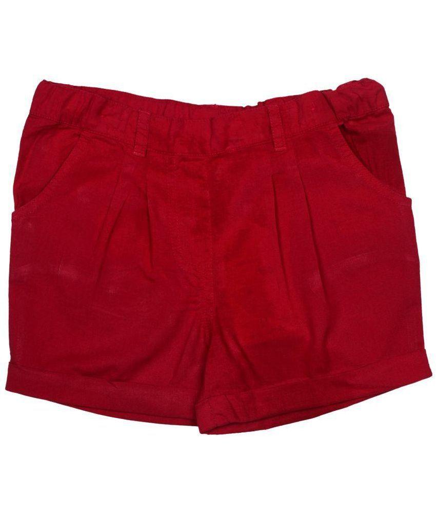 Apricot Kids Maroon Cotton Shorts