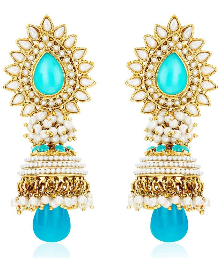 BeBold Brass Gold Plating Pearls Studded Blue Coloured Earrings