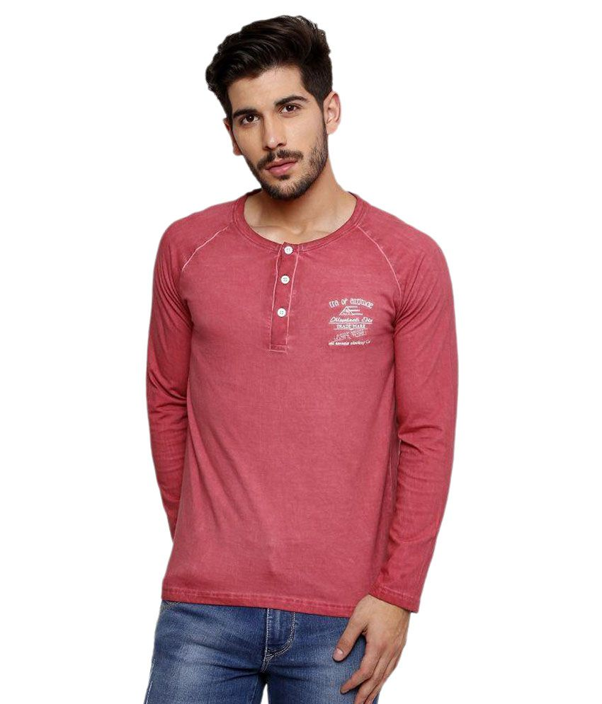 Era Of Attitude Pink Henley T-Shirt