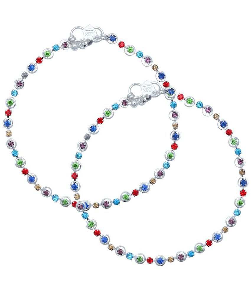 Memoir Brass Silver Plating Cubiz Zirconia Studded Multi Coloured Pair Of Anklets