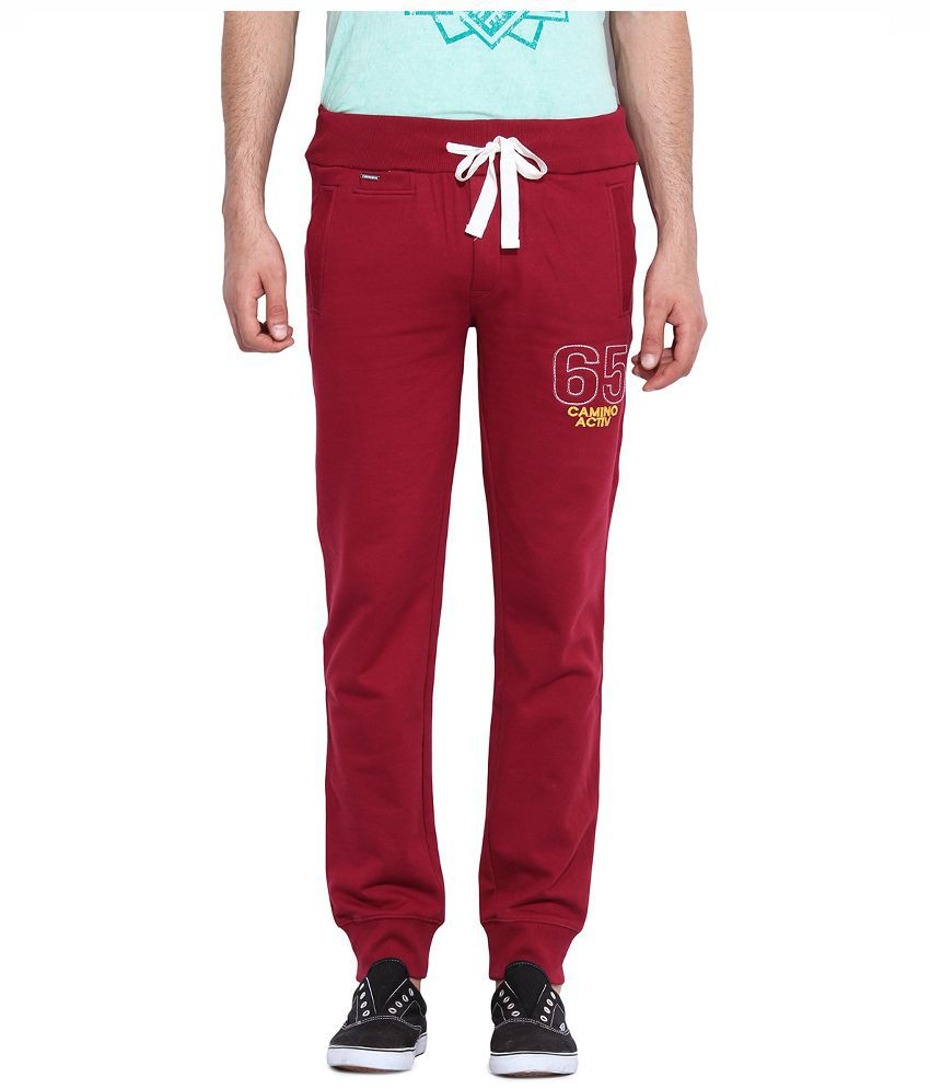 Camino Maroon Regular Fit Flat Trousers
