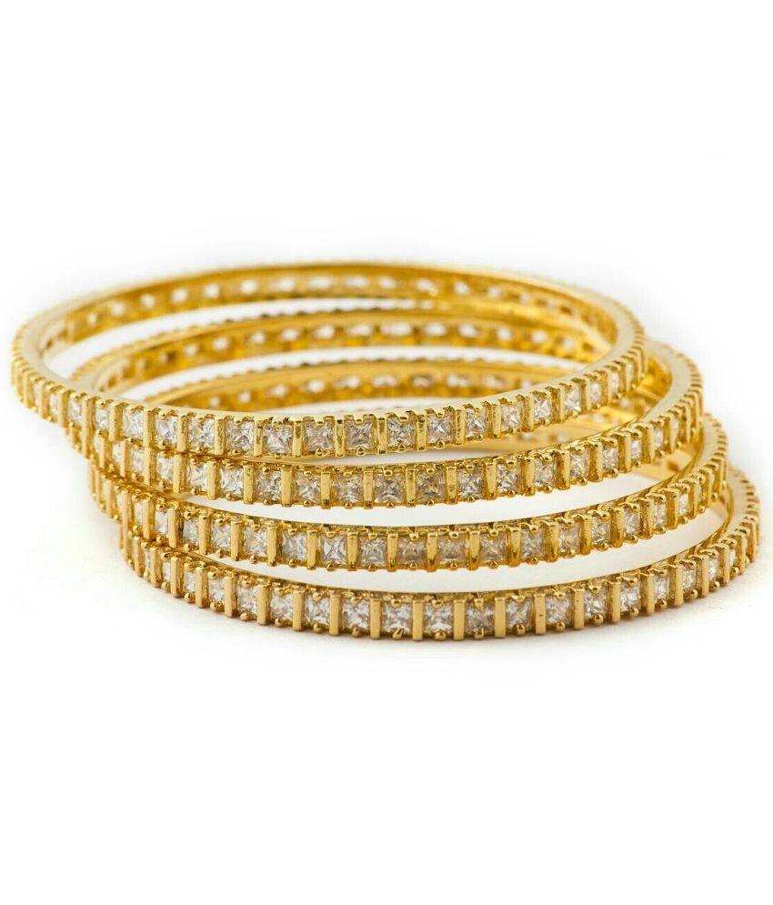 Naina Enterprises Acrylic Gold Plating American diamonds Studded Gold Coloured Bangle Set