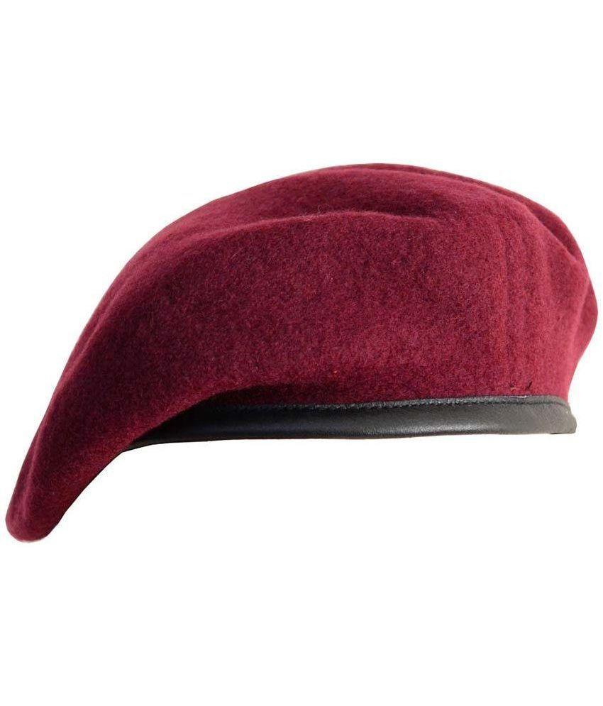 Rajputana Maroon Woolen Beret Cap