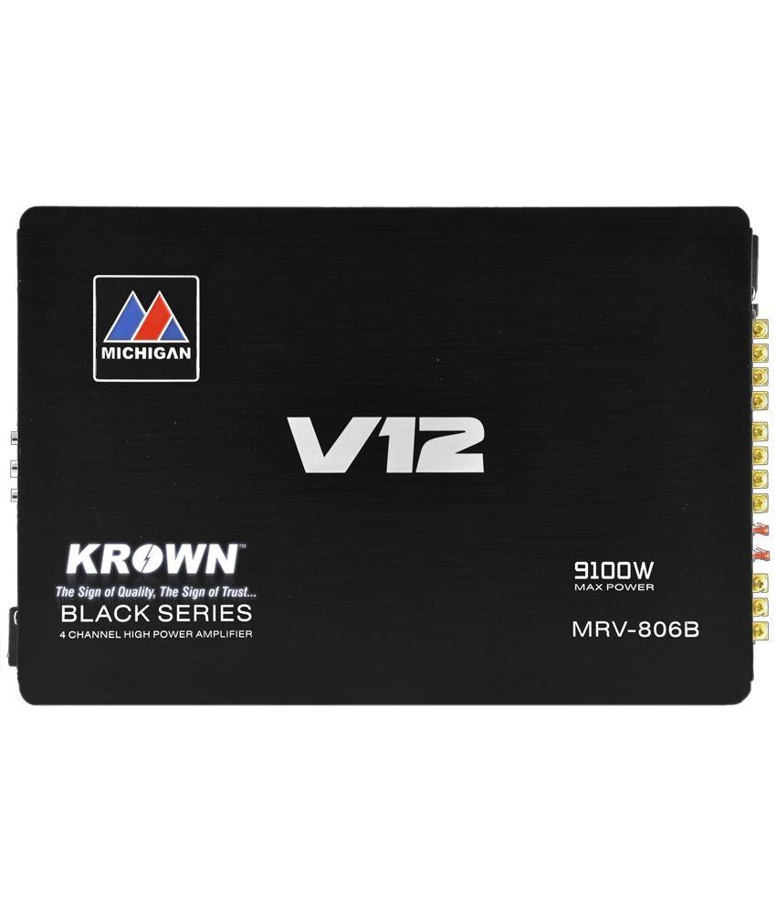 Krown CA-MRV-806B Black Series 4 Channel Power Car Amplifier 3600Watts