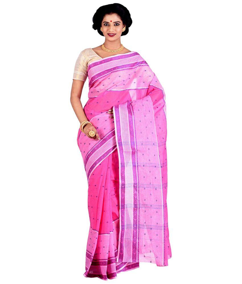 Purabi Pink and Purple Jamdani Saree