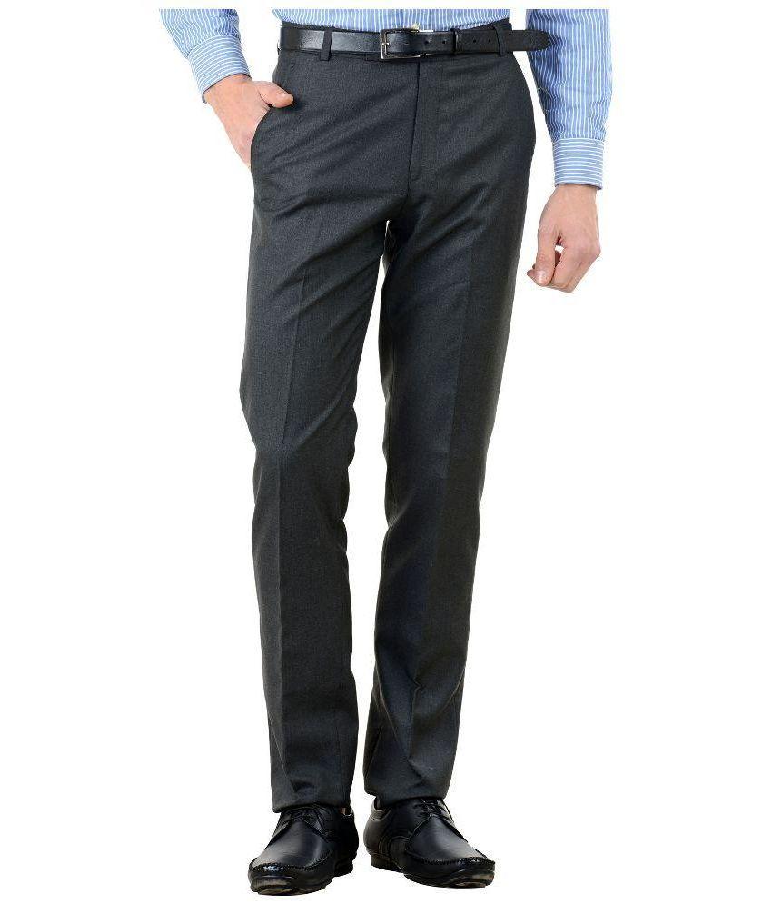 Tiger Grid Grey Slim Fit Flat Trousers