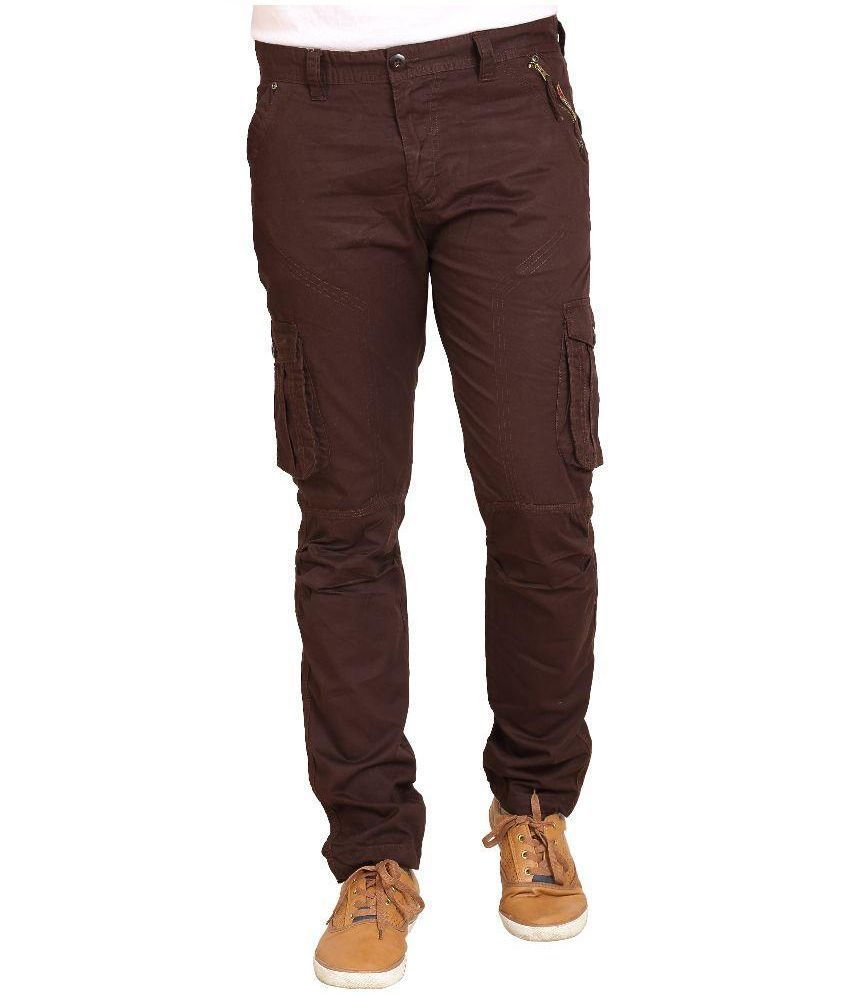 Trustedsnap Brown Regular Fit Cargos