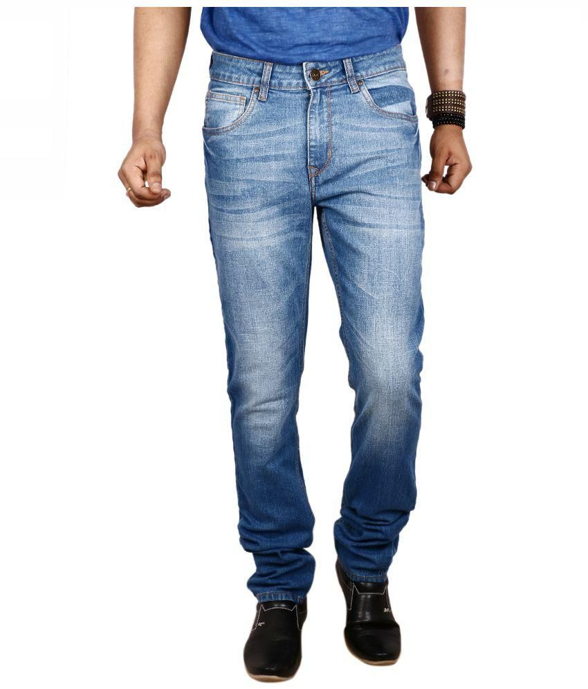 Red Tape Blue Slim Fit Faded Jeans