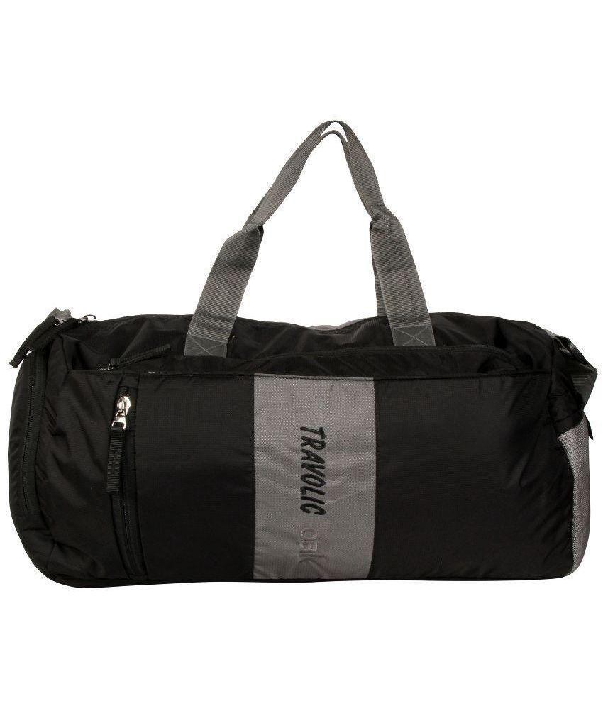 Travolic Black Medium Polyester Gym Bag