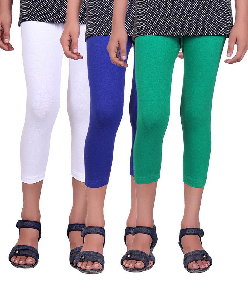 Alisha Multicolour Cotton Girls Capri - Pack of 3