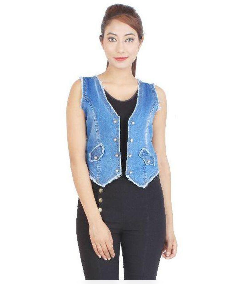 Buy cherry clothing blue denim waistcoats online at best for Buy denim shirts online