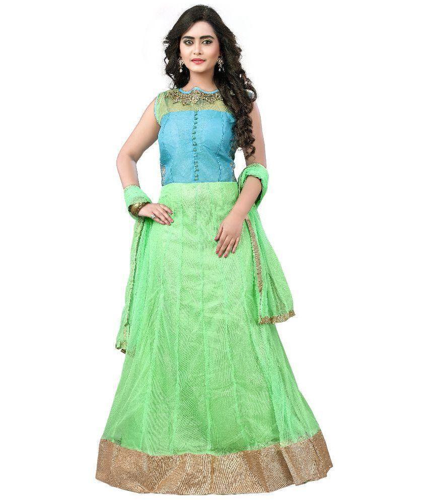 Mohini Fashion Green Net Anarkali Unstitched Dress Material