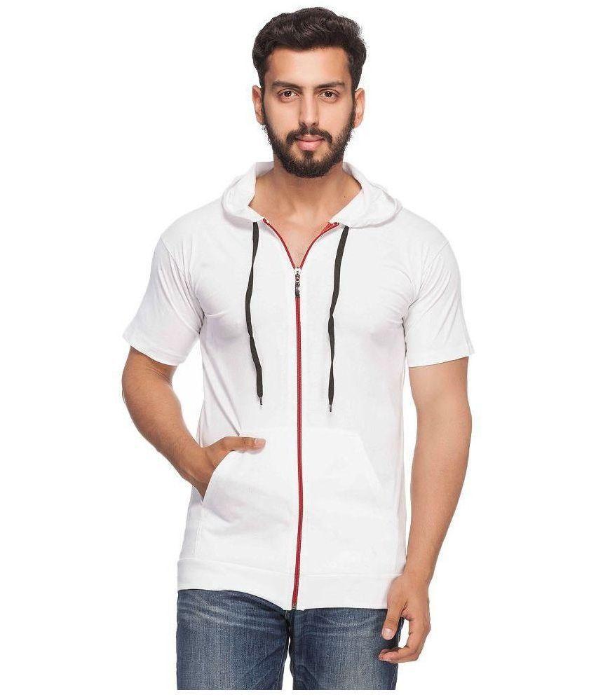 Demokrazy White Hooded T Shirt