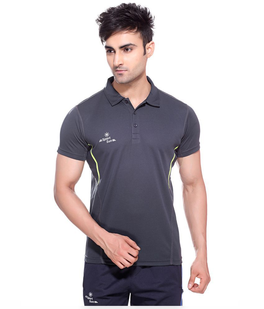 Sport Sun Dark Grey Polyester Polo T-Shirt